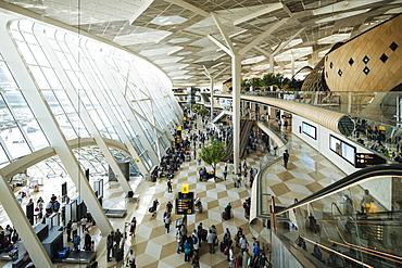 Interior of Heydar Aliyev International Airport, Baku, Azerbaijan, Central Asia, Asia