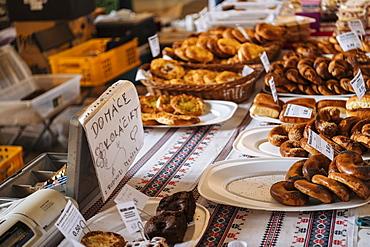 Bakery stall, Old Market, Old Town, Bratislava, Slovakia, Europe