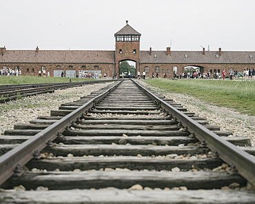 Railway tracks leading to the Birkenau Concentration Camp, UNESCO World Heritage Site, Auschwitz, Poland, Europe