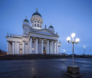 Exterior of Helsinki Cathedral at night, Helsinki, Finland, Europe