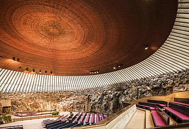 Interior of Temppeliaukion Church, Helsinki, Finland, Europe