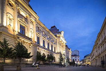 National Bank of Romania at night, Old Town Quarter of Lipscani, Bucharest, Romania, Europe