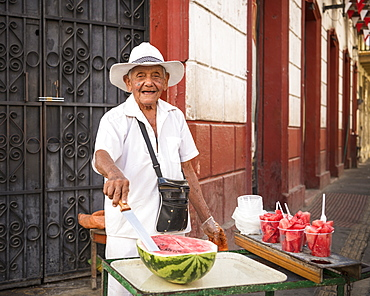 Portrait of Sandia the watermelon seller, Getsemani Barrio, Cartagena, Bolivar Department, Colombia, South America