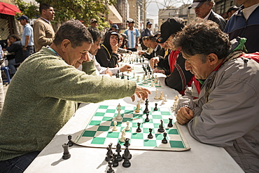 Men playing chess, La Candelaria, Bogota, Cundinamarca, Colombia, South America
