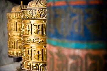Buddhist prayer wheels, Namche Gompa (Monastery), Namche Bazaar, Solu Khumbu Region, Nepal, Asia