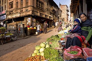 Vegetable seller, Bhaktapur, Nepal, Asia