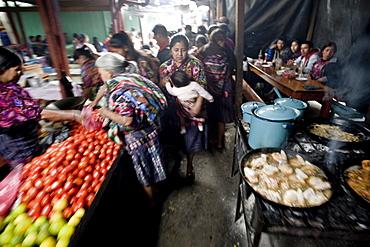 Food stalls in market, Chichicastenango, Western Highlands, Guatemala, Central America