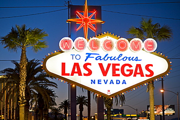 Las Vegas Sign at night, Nevada, United States of America, North America