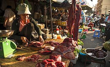 Butcher at Food market, Phnom Penh, Cambodia, Indochina, Southeast Asia, Asia