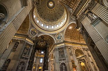 Interior of St. Peter's Basilica, The Vatican City, Vatican, Rome, Lazio, Italy, Europe