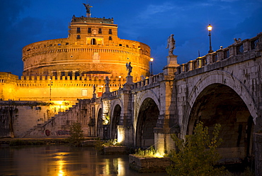 Pont Sant' Angelo and Castel Sant' Angelo at dusk, Rome, Lazio, Italy, Europe