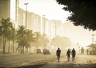 Copacabana Beach at dawn, Rio de Janeiro, Brazil, South America