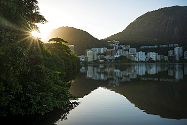 Early morning light on the Lagoa Rodrigo de Freitas, Rio de Janeiro, Brazil, South America
