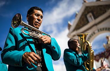 Musicians, Fiesta de la Virgen de la Candelaria, Copacabana, Lake Titicaca, Bolivia, South America