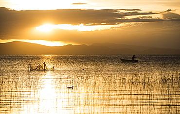 Sunset over Lake Titicaca, Copacabana, Lake Titicaca, Bolivia, South America