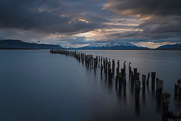 Dusk over The Last Hope Sound, Puerto Natales, Patagonia, Chile, South America