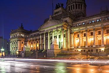 Palacio del Congreso at night, Buenos Aires, Argentina, South America