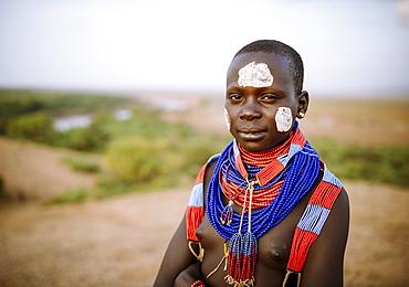 Portrait of Warsha, Kara Tribe, Korcho Village, Omo Valley, Ethiopia, Africa