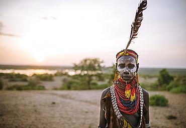 Portrait of Kanke, Kara Tribe, Korcho Village, Omo Valley, Ethiopia, Africa