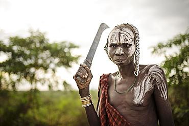 Portrait of Nakumu, Mursi Tribe, Marege Village, Omo Valley, Ethiopia, Africa