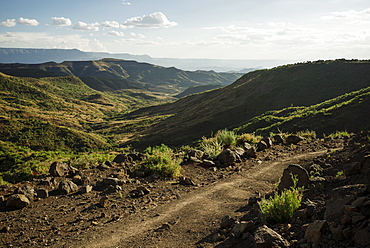 View over landscape near Lalibela at dusk, Ethiopia, Africa
