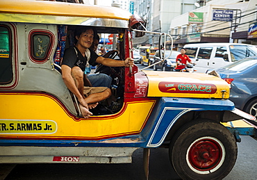 Jeepney traffic in central Manila, Philippines, Southeast Asia, Asia