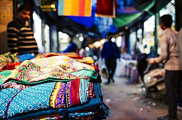 Shastri Textiles Market at night, Amritsar, Punjab, India, Asia
