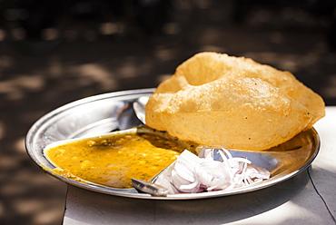 Chole Bhature Dish , Sector 7, Chandigarh, Punjab and Haryana Provinces, India, Asia