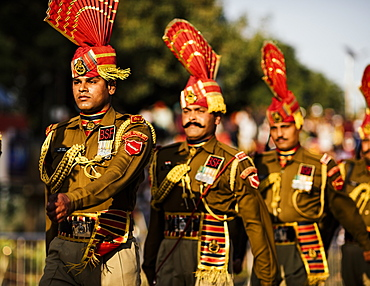 Wagha Border Ceremony, Attari, Punjab Province, India, Asia
