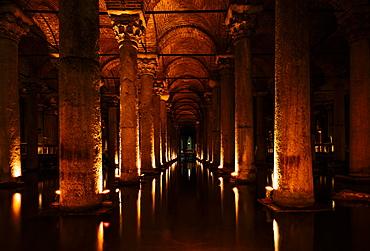 Interior of Basilica Cistern, Sultanahmet, Istanbul, Turkey, Europe