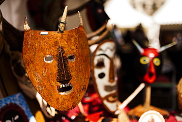 Traditional mask stall in Praca do Rossio, Lisbon, Portugal, Europe