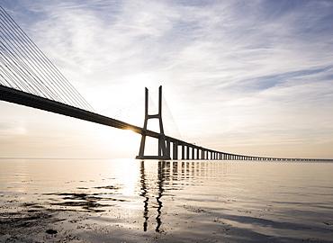 Vasco da Gama Bridge over Rio Tejo (Tagus River) at dawn, Lisbon, Portugal, Europe
