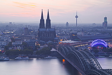 The city of Cologne and River Rhine at dusk, North Rhine-Westphalia, Germany, Europe