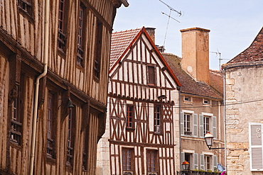 Half timbered houses in the village of Noyers sur Serein in Yonne, Burgundy, France, Europe