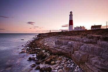 Portland Bill lighthouse at sunset, Dorset, England, United Kingdom, Europe