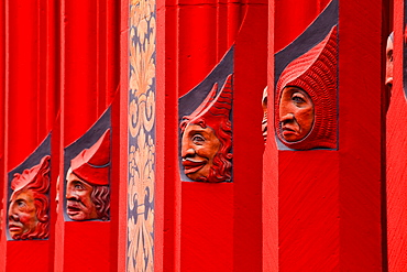 Detail of wooden carvings on the Rathaus (Town Hall) that dominates the Marktplatz in Basel, Switzerland, Europe