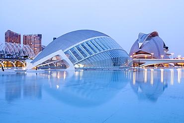 The Hemsiferic and El Palau de les Arts Reina Sofia in the City of Arts and Sciences (Ciudad de las Artes y las Ciencias) in Valencia, Spain, Europe