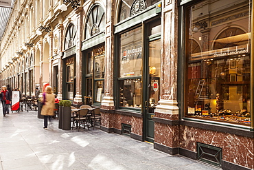 The Galeries Royales Saint-Hubert, a glazed shopping arcade dating from the 19th century, Brussels, Belgium, Europe
