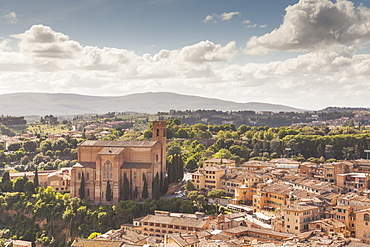 The view over the rooftops of Siena from Torre del Mangia, UNESCO World Heritage Site, Siena, Tuscany, Italy, Europe
