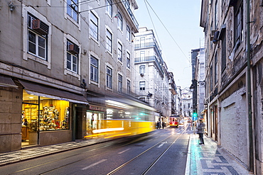 Trams in the streets of Lisbon, Portugal, Europe