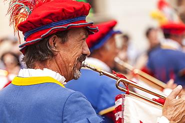 Traditional costumes at the Calcio Storico (Calcio Fiorentino) parade in Florence, Tuscany, Italy, Europe