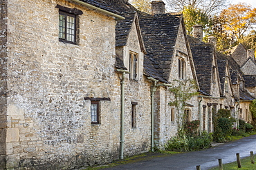 A row of medieval houses at Arlington Row, Bibury in Gloucestershire, Cotswolds, England, United Kingdom, Europe