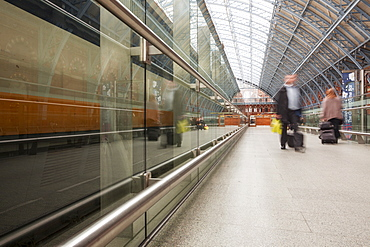 Commuters rushing through St. Pancras International station in London, England, United Kingdom, Europe