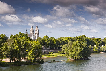 Looking across the River Loire towards the Cathedral of Saint Gatien in Tours, Indre et Loire, France, Europe