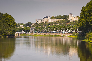 Looking down the River Vienne towards the town and castle of Chinon, Indre et Loire, France, Europe
