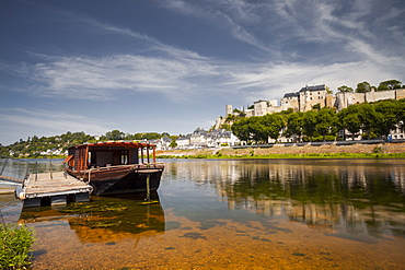 Looking across the River Vienne towards the town and castle of Chinon, Indre et Loire, France, Europe