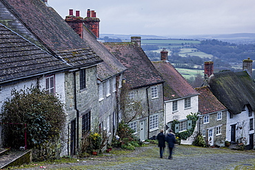 The iconic and classic view from Gold Hill in Shaftesbury, Dorset, England, United Kingdom, Europe