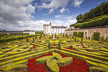 The beautiful castle and gardens at Villandry, UNESCO World Heritage Site, Indre et Loire, Centre, France, Europe