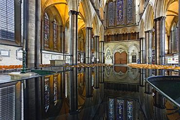 Looking towards the doorway of the west front of Salisbury Cathedral, Salisbury, Wiltshire, England, United Kingdom, Europe