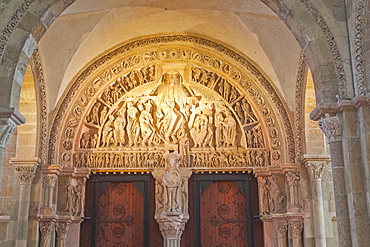 The beautiful tympanum at Vezelay, Yonne, Burgundy, France., Europe